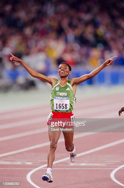 Haile Gebrselassie of Ethiopia wins the Men's 10k Final of the 2000 Olympics run on September 25, 2000 in the Olympic Stadium in Sydney, Australia.