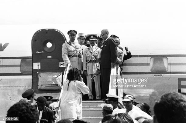 Haile Selassie I Emperor of Ethiopia arrives at Palisadoes Airport on April 21 1966 in Kingston Jamaica