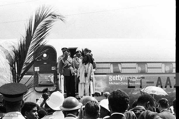 Haile Selassie I Emperor of Ethiopia arrives at Palisadoes Airport and is greeted by Rastafari elder Mortimo Planno on April 21 1966 in Kingston...