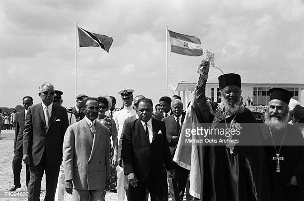 Haile Selassie I Emperor of Ethiopia attends a corner stone ceremony for a new Etiopian Orthodox church on April 18 1966 in Port Of Spain Trinidad
