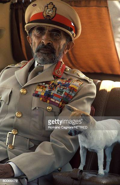 Haile Selassie I Emperor of Ethiopia with his pet chihuahua circa 1970