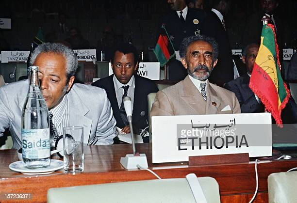 Haile Selassie originally Prince Ras Tafari Makonnen the Emperor of Ethiopia poses for the photographer in September 1973 at the opening session of a...