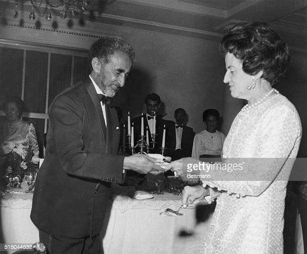 Haile Selassie the Emperor of Ethiopia and Mrs Rose Kennedy talk during ceremonies here Mrs Kennedy came to Ethiopia to dedicate the John F Kennedy...
