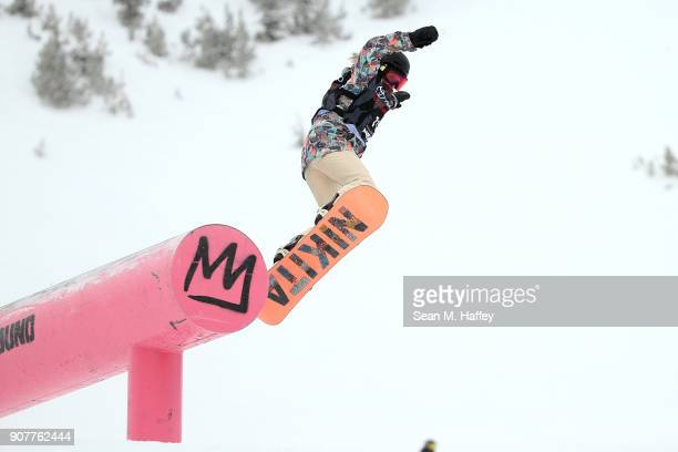 Hailee Soderholm competes in the final round of the Men's Snowboard Slopestyle during the Toyota US Grand Prix on January 20 2018 in Mammoth...