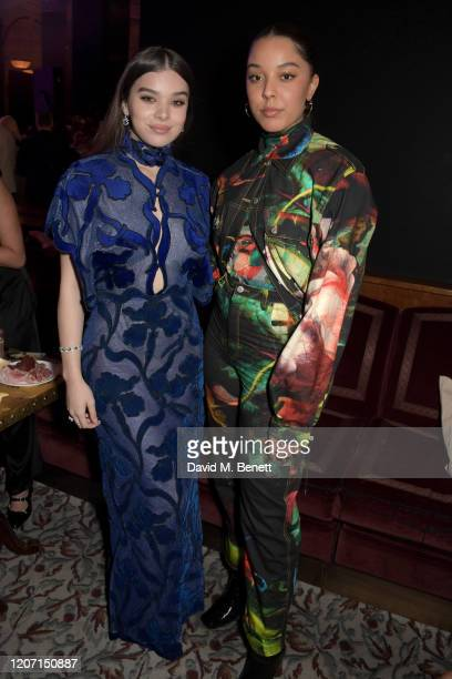 Hailee Steinfeld and Grace Carter attend the Universal Music BRIT Awards afterparty 2020 hosted by Soho House PATRÓN at The Ned on February 18 2020...