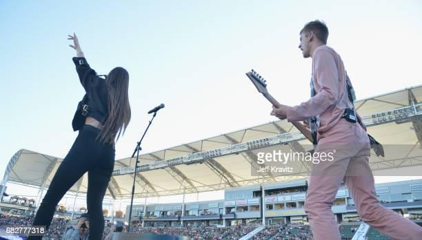 Hailee Steinfeld and Machine Gun Kelly perform onstage during 1027 KIIS FM's 2017 Wango Tango at StubHub Center on May 13 2017 in Carson California
