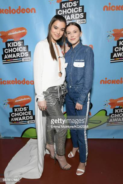 Hailee Steinfeld and Millie Bobby Brown backstage at Nickelodeon's 2018 Kids' Choice Awards at The Forum on March 24 2018 in Inglewood California