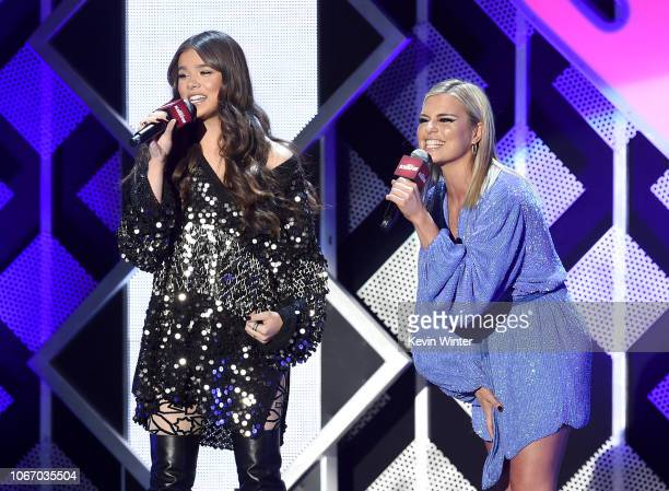 Hailee Steinfeld and Tanya Rad speak onstage during 1027 KIIS FM's Jingle Ball 2018 Presented by Capital One at The Forum on November 30 2018 in...