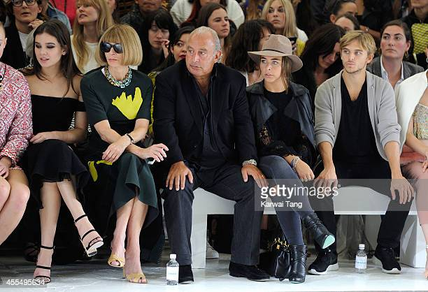 Hailee Steinfeld Anna Wintour Sir Philip Green Chloe Green and Brandon Green attend the TopShop Unique show during London Fashion Week Spring Summer...