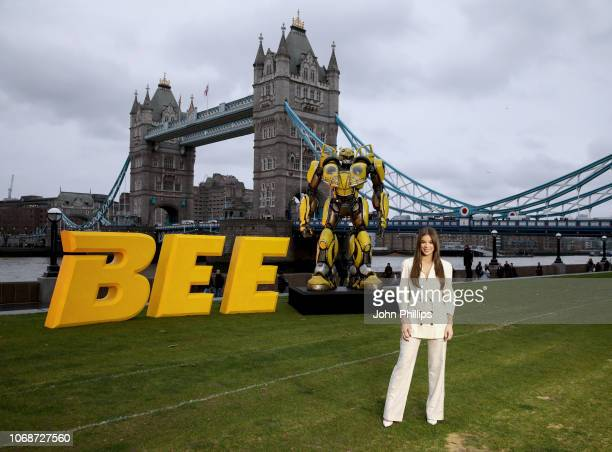 Hailee Steinfeld attends a photocall in support of Paramount Pictures' film 'Bumblebee'â at Tower Bridge, Potters Field Park on December 5, 2018 in...