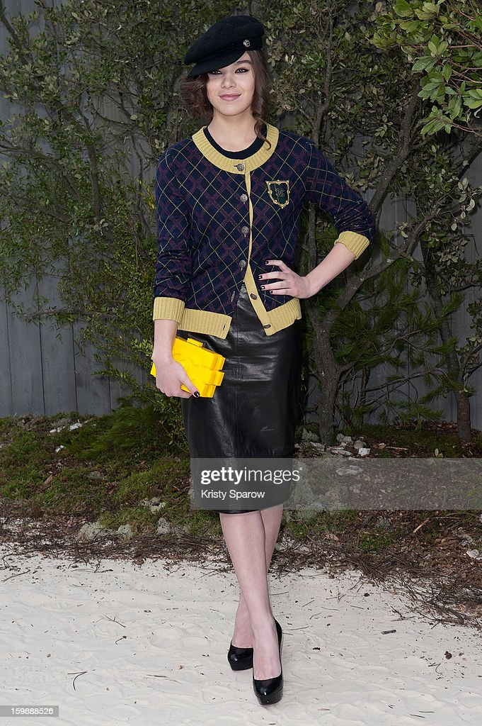 Hailee Steinfeld attends the Chanel Spring/Summer 2013 Haute-Couture show as part of Paris Fashion Week at Grand Palais on January 22, 2013 in Paris, France.