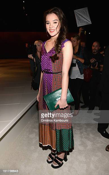 Hailee Steinfeld attends the Marc Jacobs Spring 2013 fashion show during MercedesBenz Fashion Week at NY State Armory on September 10 2012 in New...
