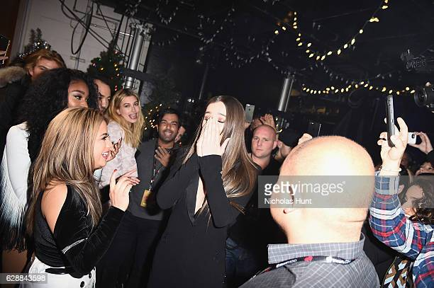 Hailee Steinfeld celebrates her birthday backstage during Z100's Jingle Ball 2016 at Madison Square Garden on December 9 2016 in New York City