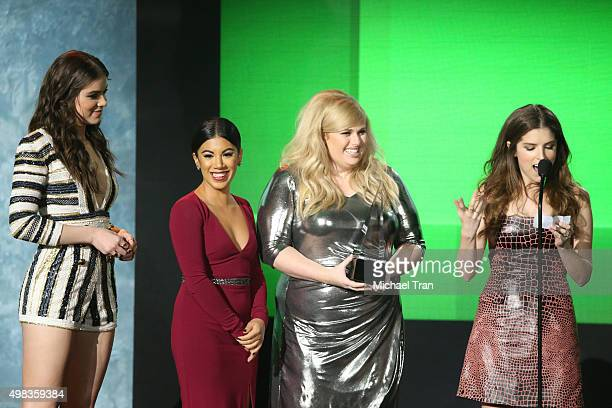 Hailee Steinfeld Chrissie Fit Rebel Wilson and Anna Kendrick speak onstage at the 2015 American Music Awards at Microsoft Theater on November 22 2015...