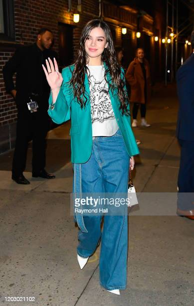 Hailee Steinfeld departs the Late Show in Midtown on February 24, 2020 in New York City.
