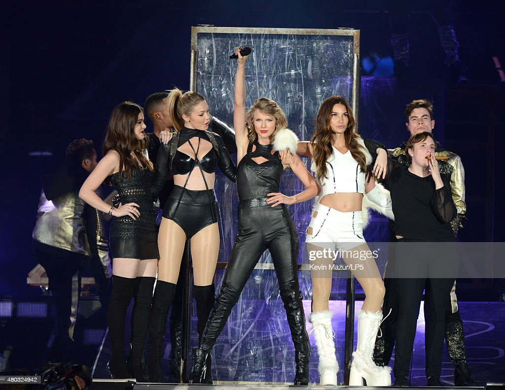 Hailee Steinfeld, Gigi Hadid, Taylor Swift, Lily Aldridge and Lena Dunham onstage during The 1989 World Tour Live at MetLife Stadium on July 10, 2015 in East Rutherford, New Jersey.