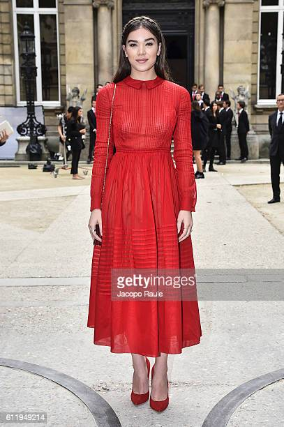 Hailee Steinfeld is seen arriving at Valentino Fashion show during Paris Fashion Week Spring/Summer 2017 on October 2 2016 in Paris France
