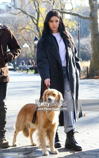 Hailee Steinfeld is seen at the film set of the 'Hawkeye' TV Series in Washington Square Park on December 03, 2020 in New York City.