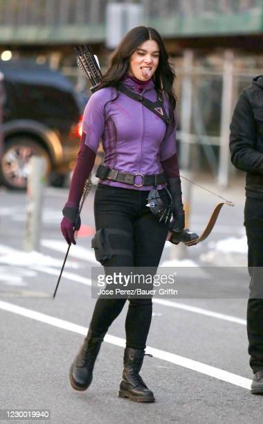 "Hailee Steinfeld is seen on set of ""Hawkeye"" on December 08, 2020 in New York City."