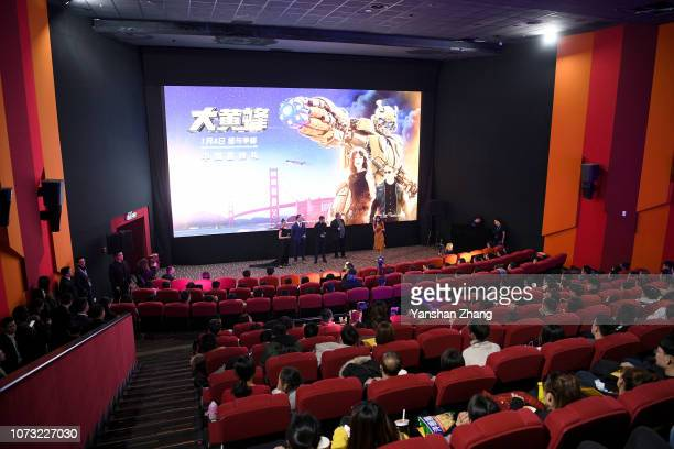 Hailee Steinfeld, John Cena,Travis Knight and Lorenzo di Bonaventura attend a fan screening for Paramount Pictures' film 'Bumblebee' on December 14,...