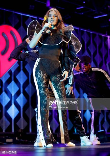 Hailee Steinfeld performs at 1061 KISS FM's iHeartRadio Jingle Ball 2017 at American Airlines Center on November 28 2017 in Dallas Texas