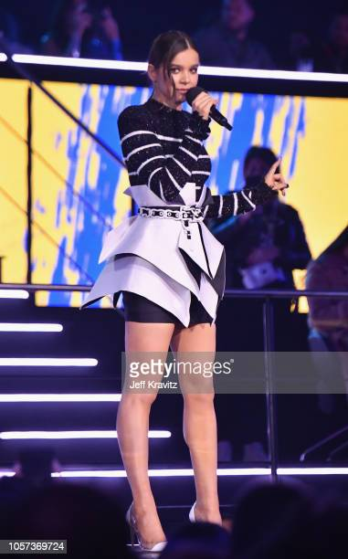 Hailee Steinfeld performs on stage during the MTV EMAs 2018 on November 4 2018 in Bilbao Spain