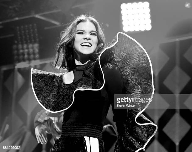 Hailee Steinfeld performs onstage at 1061 KISS FM's Jingle Ball 2017 Presented by Capital One at American Airlines Center on November 28 2017 in...