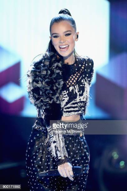 Hailee Steinfeld performs onstage during Dick Clark's New Year's Rockin' Eve with Ryan Seacrest 2018 on December 31 2017 in Los Angeles California