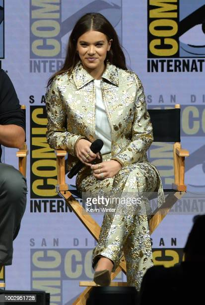 Travis Knight Hailee Steinfeld and Jorge Lendeborg Jr speak onstage at the 'Bumblebee' panel during ComicCon International 2018 at San Diego...