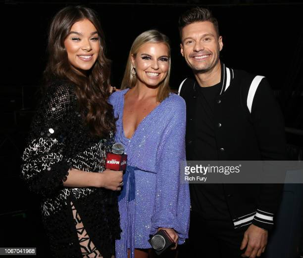 Hailee Steinfeld Tanya Rad and Ryan Seacrest backstage during 1027 KIIS FM's Jingle Ball 2018 Presented by Capital One at The Forum on November 30...