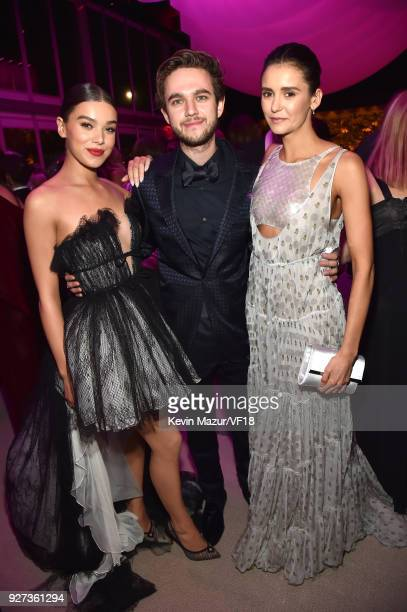 Hailee Steinfeld Zedd and Nina Dobrev attend the 2018 Vanity Fair Oscar Party hosted by Radhika Jones at Wallis Annenberg Center for the Performing...