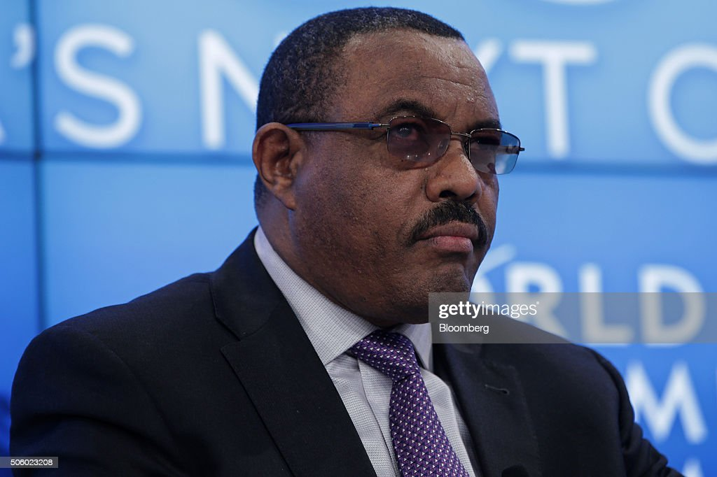 Hailemariam Desalegn, Ethiopia's prime minister, looks on during a panel session at the World Economic Forum (WEF) in Davos, Switzerland, on Thursday, Jan. 21, 2016. World leaders, influential executives, bankers and policy makers attend the 46th annual meeting of the World Economic Forum in Davos from Jan. 20 - 23. Photographer: Matthew Lloyd/Bloomberg via Getty Images