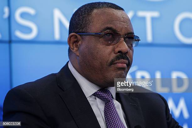 Hailemariam Desalegn Ethiopia's prime minister looks on during a panel session at the World Economic Forum in Davos Switzerland on Thursday Jan 21...