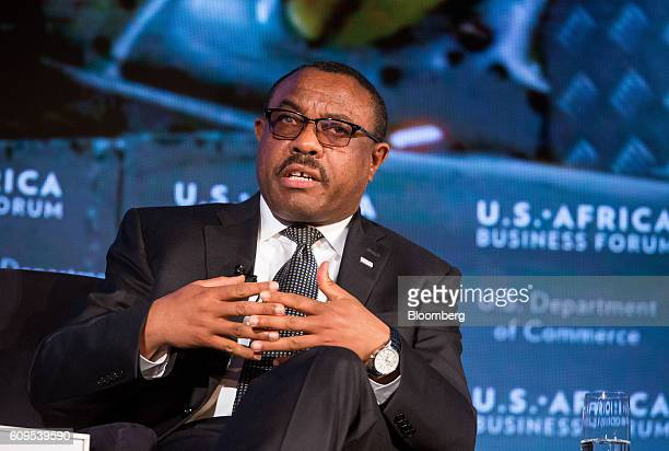 Hailemariam Desalegn, Ethiopia's prime minister, speaks during the U.S.-Africa Business Forum in New York, U.S., on Wednesday, Sept. 21, 2016. The...
