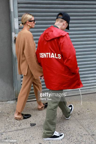 Hailey and Justin Bieber come out of their Brooklyn apartment on May 03 2019 in New York City