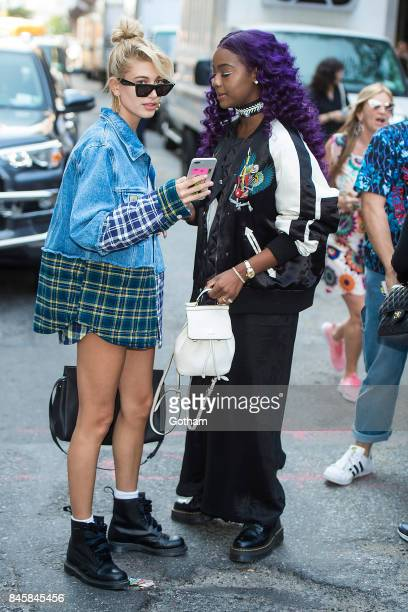 Hailey Badlwin and Justine Skye attend the Zadig Voltaire fashion show during New York Fashoin Week at Cedar Lake in Chelsea on September 11 2017 in...