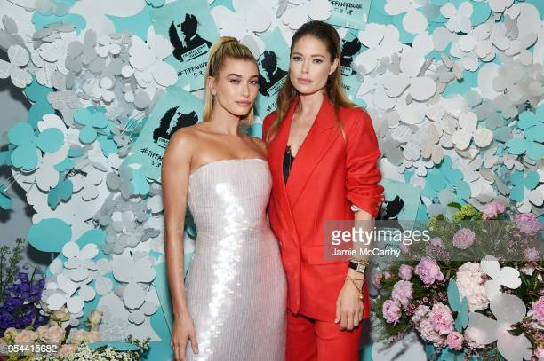 Hailey Baldwin and Doutzen Kroes attend the Tiffany Co Paper Flowers event and Believe In Dreams campaign launch on May 3 2018 in New York City