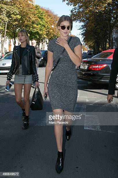Hailey Baldwin and Gigi Hadid are seen on 'Avenue Montaigne' on September 30 2015 in Paris France