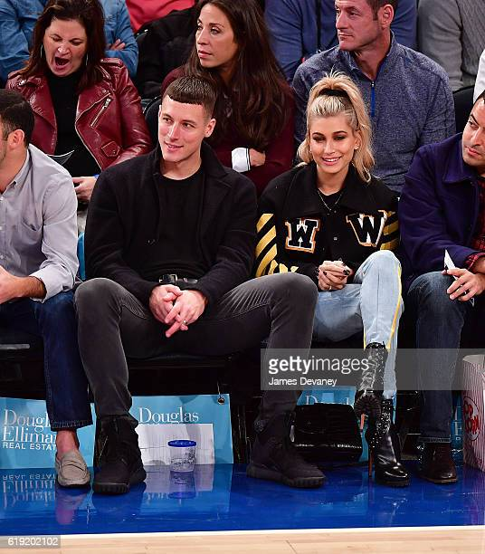 Hailey Baldwin and guest attend New York Knicks vs Memphis Grizzlies game at Madison Square Garden on October 29 2016 in New York City
