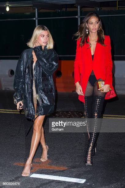 Hailey Baldwin and Joan Smalls are seen in Brooklyn on April 23 2018 in New York City