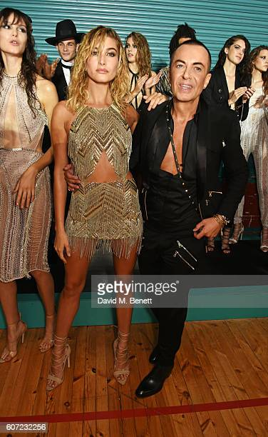 Hailey Baldwin and Julien Macdonald attend the Julien Macdonald runway show during London Fashion Week Spring/Summer collections 2017 on September 17...