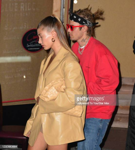 Hailey Baldwin and Justin Bieber are seen on May 3, 2021 in Los Angeles, California.