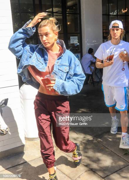 Hailey Baldwin and Justin Bieber are seen on October 15 2018 in Los Angeles California