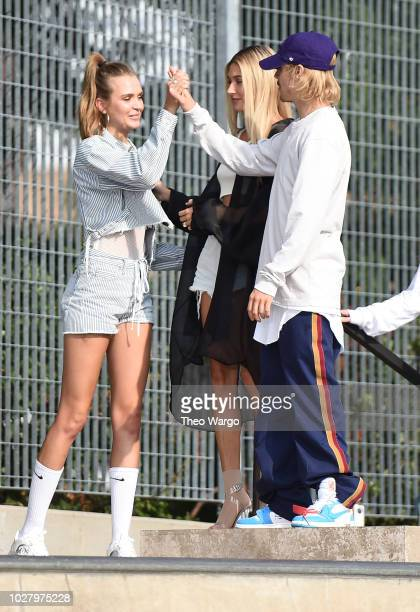 Hailey Baldwin and Justin Bieber attend the John Elliott front row during New York Fashion Week The Shows on September 6 2018 in New York City