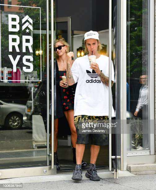 Hailey Baldwin and Justin Bieber leave Barry's Bootcamp Tribeca on July 27 2018 in New York City