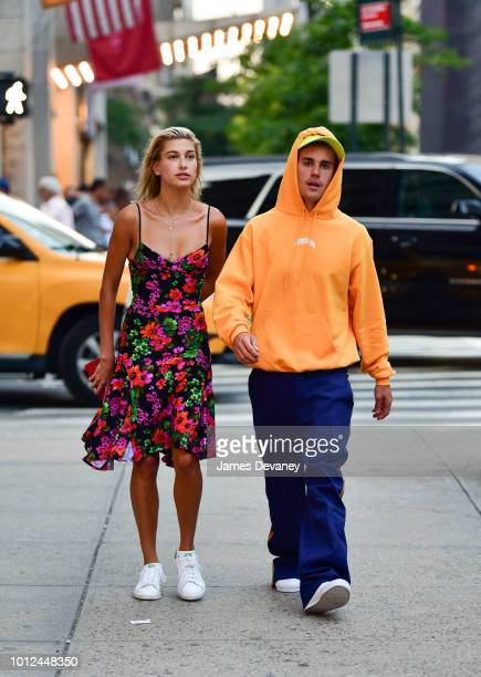 Hailey Baldwin and Justin Bieber seen on the streets of Midtown Manhattan on August 6 2018 in New York City