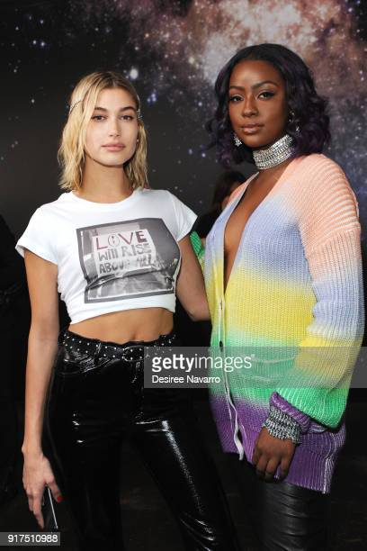 Hailey Baldwin and Justine Skye pose backstage for the Zadig Voltaire fashion show during New York Fashion Week at Cedar Lake Studios on February 12...