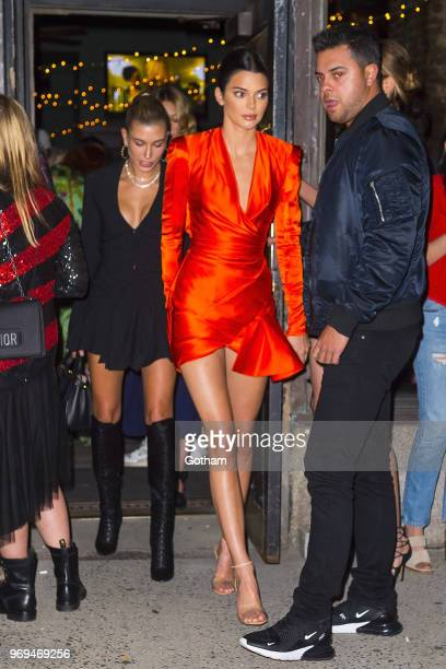 Hailey Baldwin and Kendall Jenner are seen in Tribeca on June 7 2018 in New York City