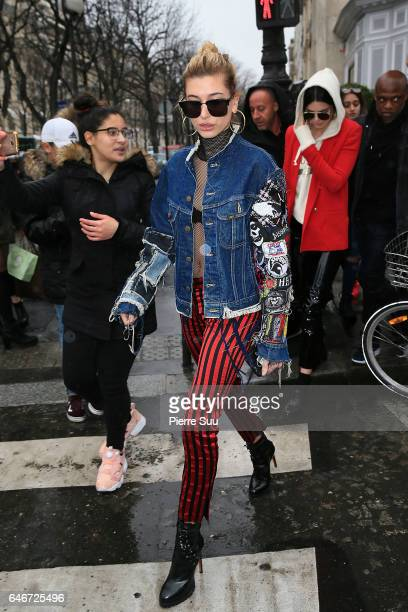 Hailey Baldwin and Kendall Jenner are seen walking on Avenue Montaigne on March 1 2017 in Paris France