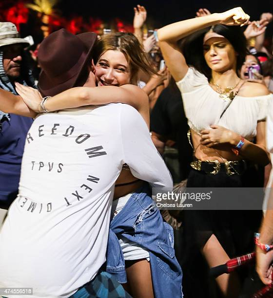 Hailey Baldwin and Kendall Jenner attend the Coachella Valley Music and Arts Festival at The Empire Polo Club on April 11 2015 in Indio California